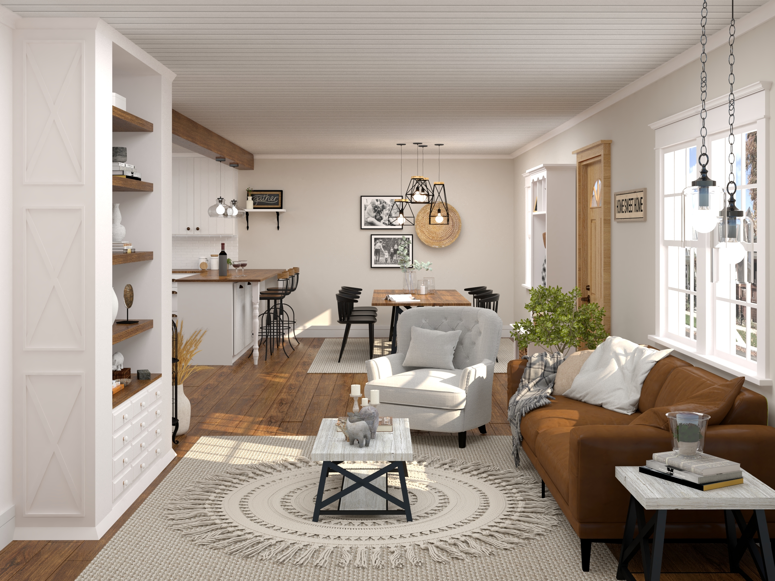 3D rendering of a living room design